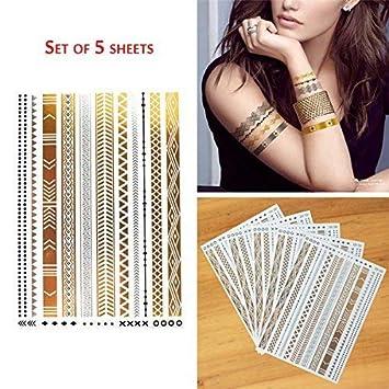 Cokohappy 5 Sheets Armband Bracelet Gold And Silver Flash Metallic
