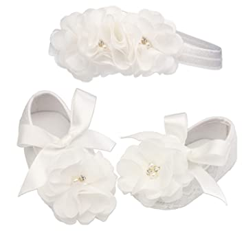 Baby Girls Ivory Lace Pearl Christening Shoes Ivory Headband Set 0-12 mths