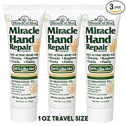Miracle of Aloe, Miracle Hand Repair Cream 1 oz tube with 60% UltraAloe - 3 Pack Travel Sized
