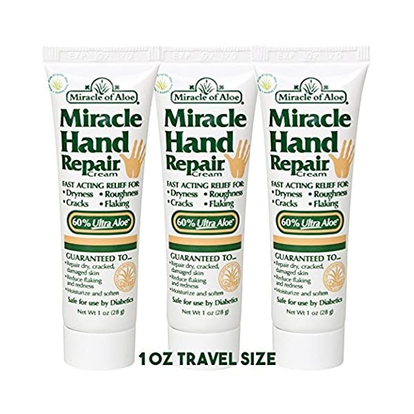 Miracle Hand Repair Cream 1 Ounce Tube, 3 Pack With 60% UltraAloe