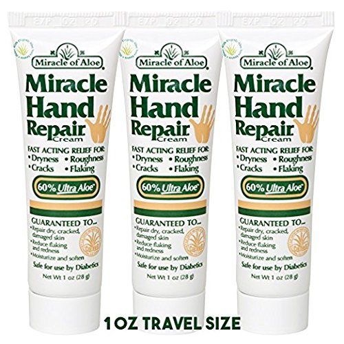 Scented After Sun Lotion (Miracle of Aloe, Miracle Hand Repair Cream 1 oz tube with 60% UltraAloe - 3 Pack)