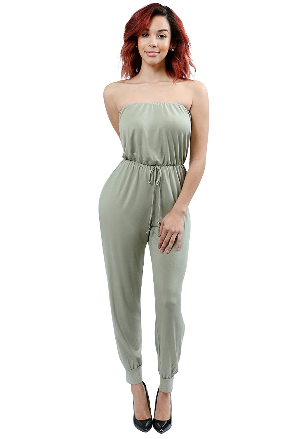 NY Closet Women's Tube Top Jumpsuit In Solid Color Elastic Band