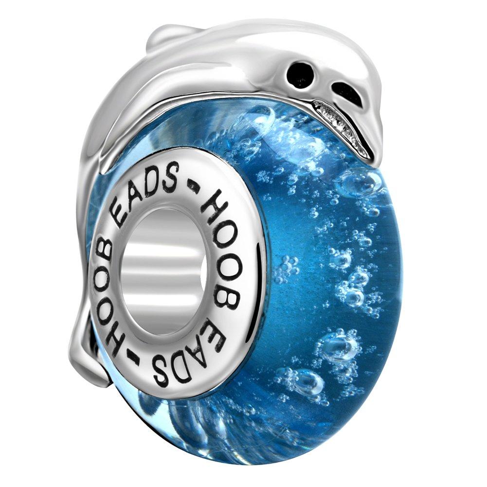 Lovely Animal Glass Charms 925 Sterling Silver Bead for European Bracelet (Dolphin)