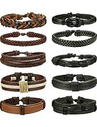 Thunaraz 8-10 Pcs Braided Leather Bracelets for Men Women Woven Cuff Bracelet Adjustable