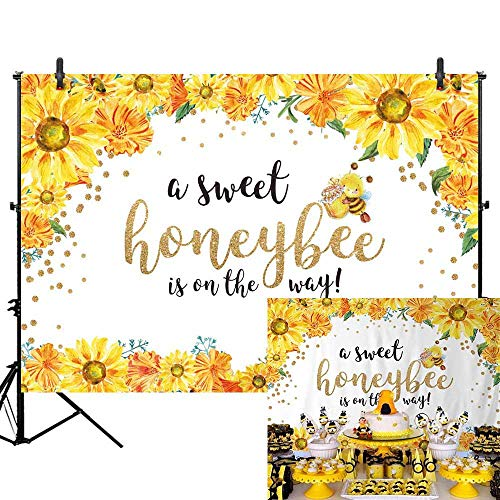 (Allenjoy 7x5ft Honeybee Baby Shower Backdrop Sweet Honeybee is on The Way Photography Background He or She Boy or Girl Sunflower Gender Reveal Party Backdrop Bumble Bee Gender Surprise Party Banner)