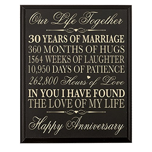 LifeSong Milestones 30th Anniversary Gift for Couple Parents 30 year Anniversary Gifts ideas Wall Plaque 12
