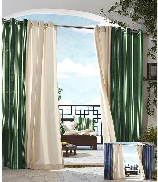 DH 1 pieza 84 pulgadas color verde cenador cortina panel único, patrón de rayas rugby colores exterior, exterior pérgola cortinas porche cubierta cabana patio pantalla entrada sol lanai poliéster: Amazon.es: Jardín