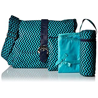 Kalencom Messenger Buckle Diaper Bag, Wiggly Stripes Ocean