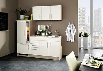 Miniküche Mit Kühlschrank 180 Cm : Singleküche cm hochglanz creme inkl e geräte und spüle