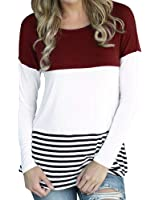 CHN'S Women's Long Sleeve Round Neck Striped Blouse Casual Top Shirt