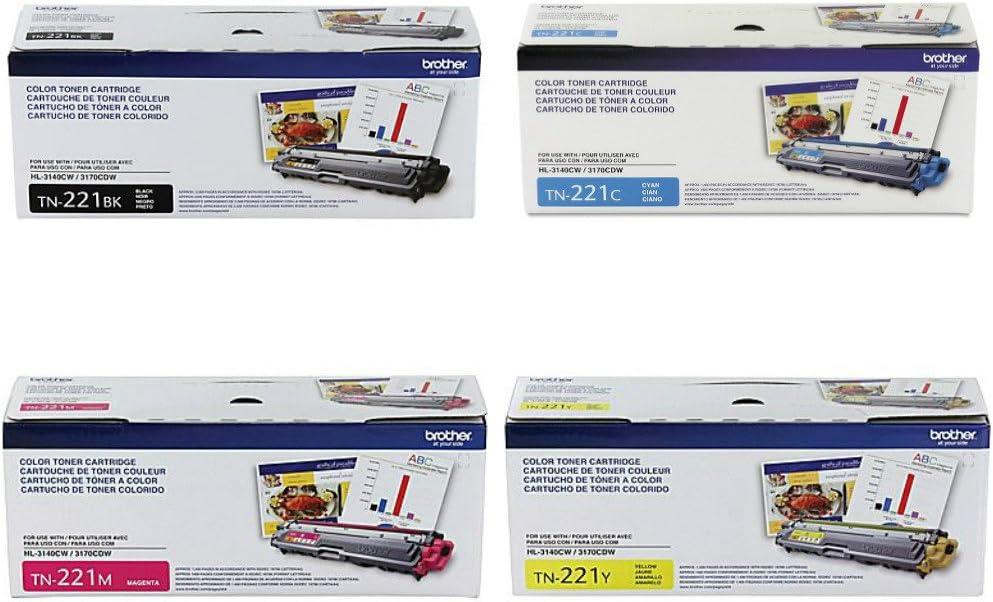 Brother TN-221BK TN-221C TN-221M TN-221Y DCP-9015 9020 HL-3140 3150 3170 3180 MFC-9130 9140 9330 9340 Toner Cartridge Set (Black Cyan Magenta Yellow, 4-Pack) in Retail Packaging