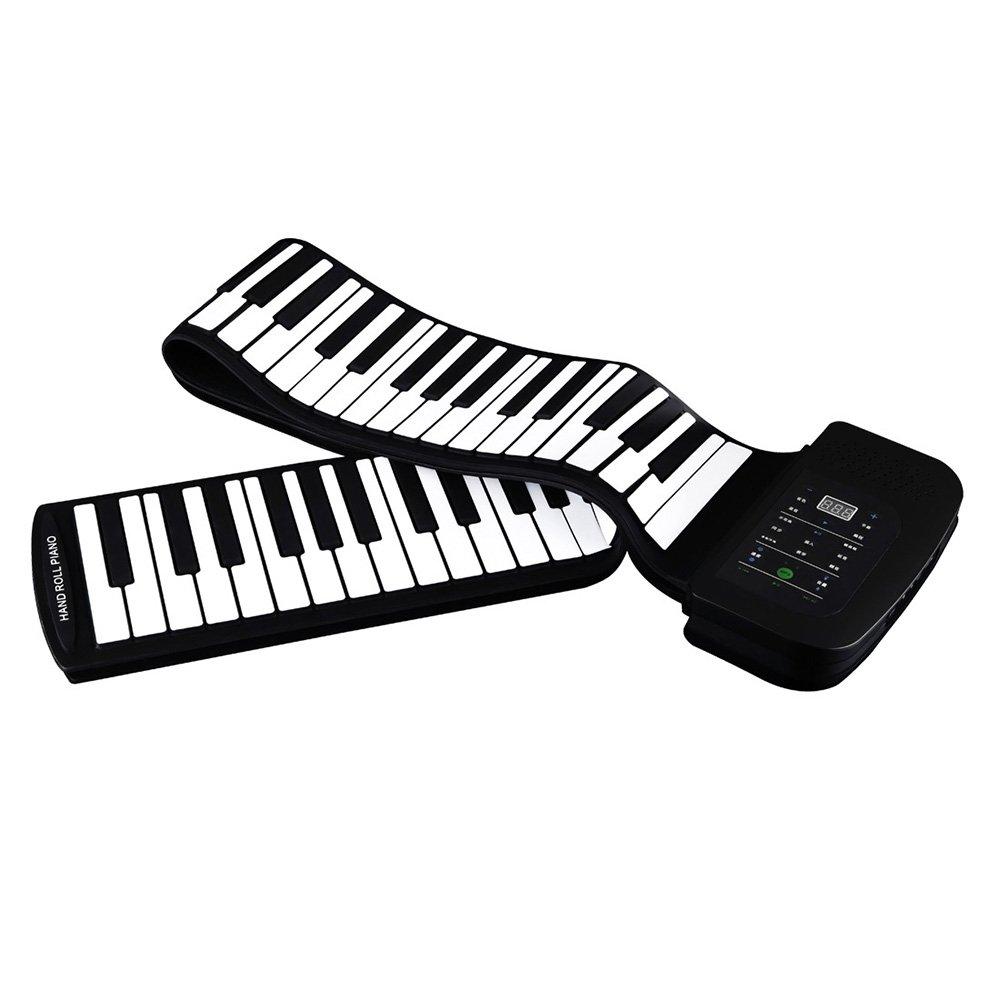 ammoon 88 Keys - Piano Portátil 88 Teclas de Silicona Flexible Enrollable con Batería, Pedal de Sostenido, Negro Generic