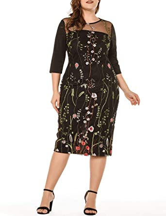 369fb735f8bd Lover-Beauty Women Embroidery Dress Plus Size Lace Knee Length Formal  Dresses