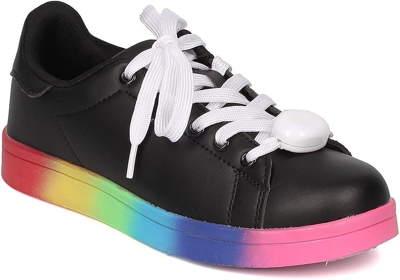 Women Leatherette Rainbow Light Up Lace