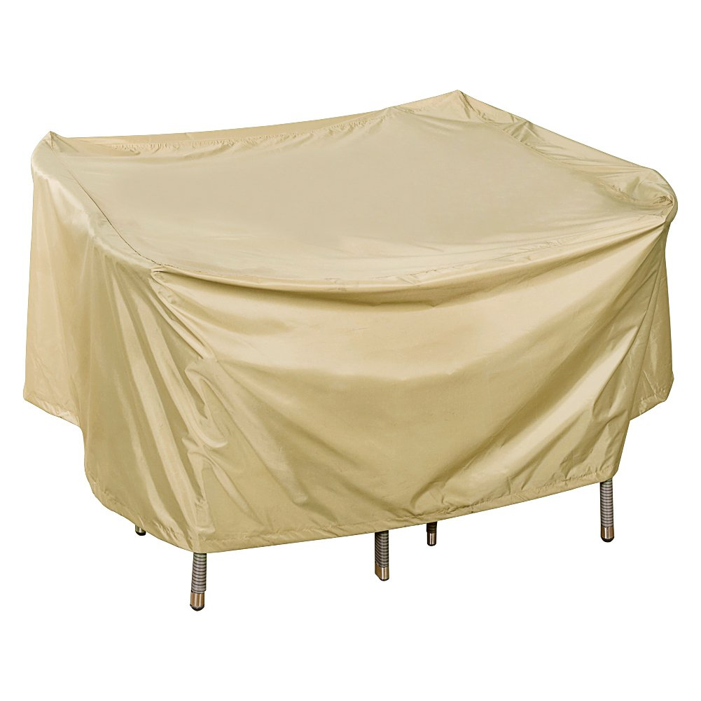 Sundale Outdoor Heavy Duty Cover for Patio Wicker Bar Set Cover with PVC Coating Waterproof, fit up to 49L x 49W x 28H inches, Beige