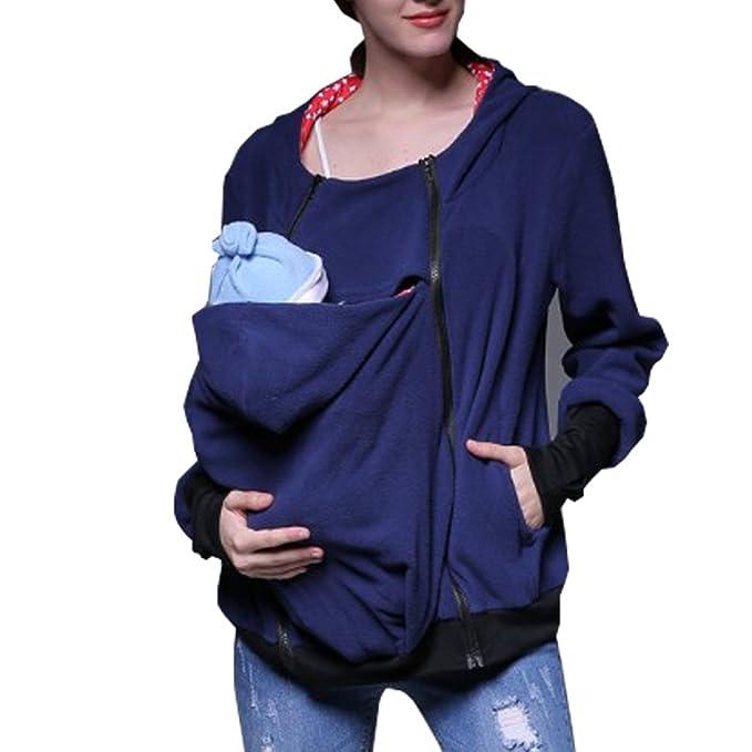 MissChild Sudadera Canguro con Capucha Mujer Portador de Bebé Premamá Sudaderas Portabebés Chaqueta Outwear Otoño Invierno