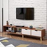 简约现代电视柜茶几组合北欧小户型地柜迷你家具伸缩电视机柜 (原野橡木色(电视柜))