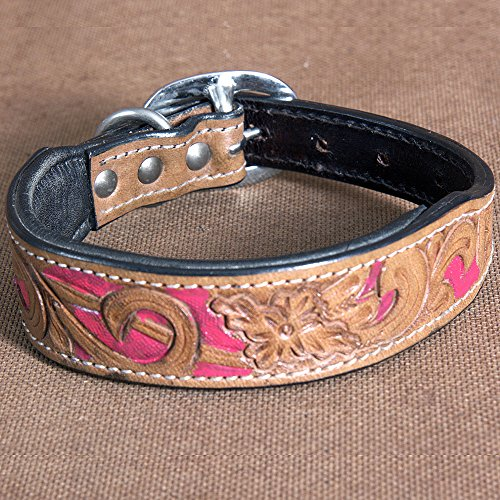 COMFYTACK Small Heavy Duty Handmade Genuine Leather Beaded Hand Tooled Dog