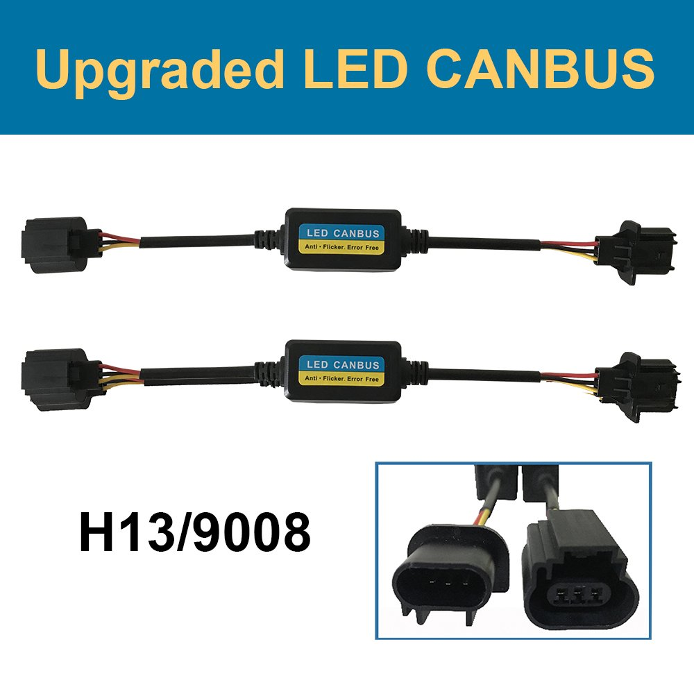 H13 9008 LED Anti Flicker Headlight Canbus Error Free Computer Warning Canceller Resistor Decoders Capacitor Wiring Harness (Pack of 2) Mosley Technology Inc