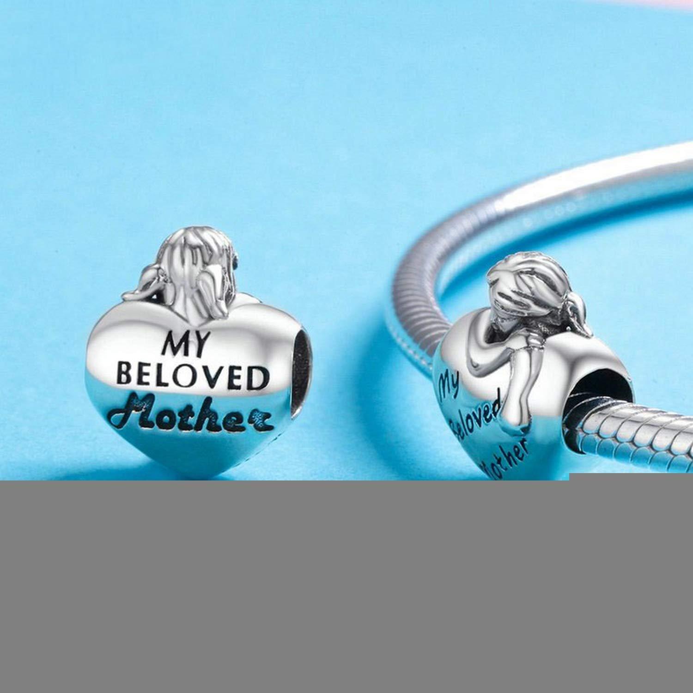 EverReena Beads Love Valentine HeartMy Beloved Mother for Silver Bracelets