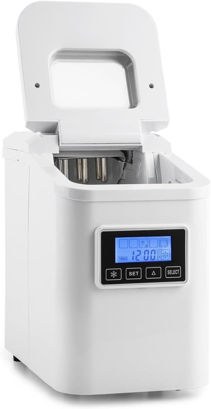 Klarstein Lannister White Edition - Máquina de cubitos de hielo, 10kg /día, 3 tamaños, Tanque 1,1l, Refrigerante R600a, Sistema cíclico, Display con pictogramas, Indicadores luminosos, Blanco