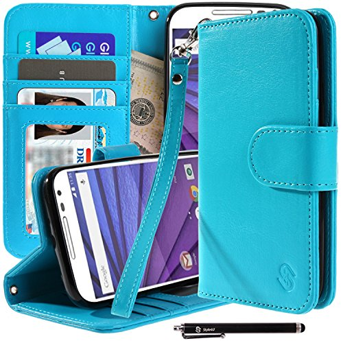 Motorola Moto G (3rd Gen) Case, Moto G3 Case, Style4U Premium PU Leather Stand Wallet Case with ID Credit Card/Cash Slots for Motorola Moto G (3rd Generation) / Moto G3 + 1 Stylus [Blue]