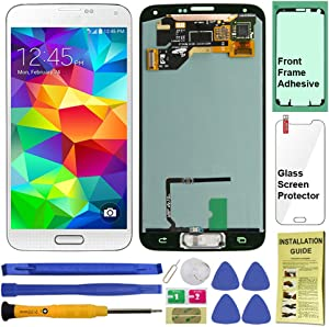 Display Touch Screen (AMOLED) Digitizer Assembly with Home Button for Samsung Galaxy S5 All Models (Unlocked) G900 G900A G900P G900V G900T G900R4 G900F G900H (for Repair Replacement) (Shimmery White)
