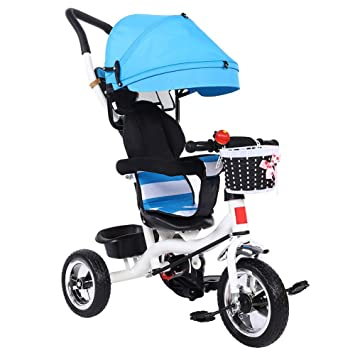 Greensen 3 Rondas de Niños y Niños Balancean el Mini Andador de Scooter de Bicicleta con Toldo Azul Triciclo de Empuje para Padres (Azul)