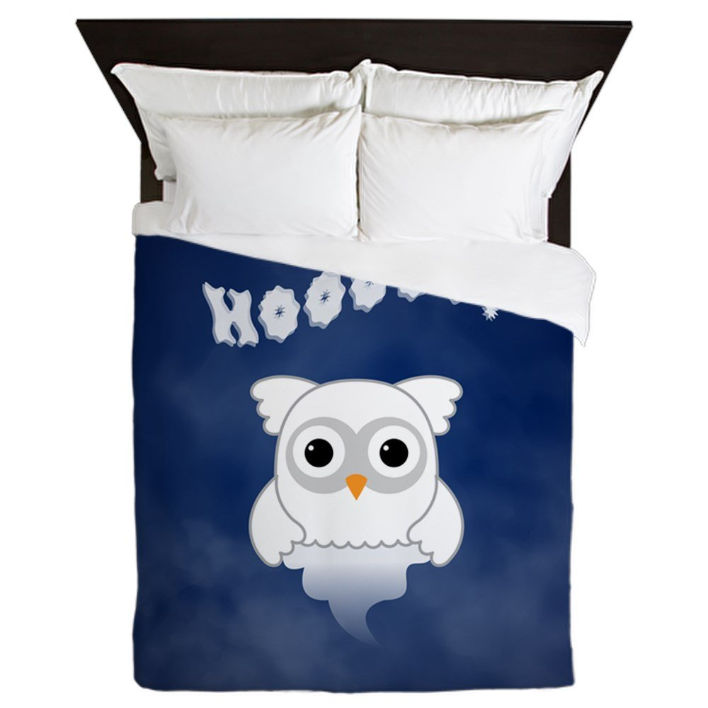 Queen Duvet Cover Spooky Little Ghost Owl in the Mist