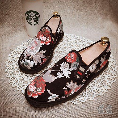 LvYuan Los zapatos tradicionales chinos unisex del paño / retro ocasional respiran los zapatos del bordado / los zapatos de Kung Fu / los artes marciales / deslizan-en los zapatos Black
