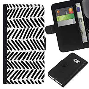 KingStore / Leather Etui en cuir / Samsung Galaxy S6 EDGE / Patrón Nativo Arte Negro White Stripes Wallpaper