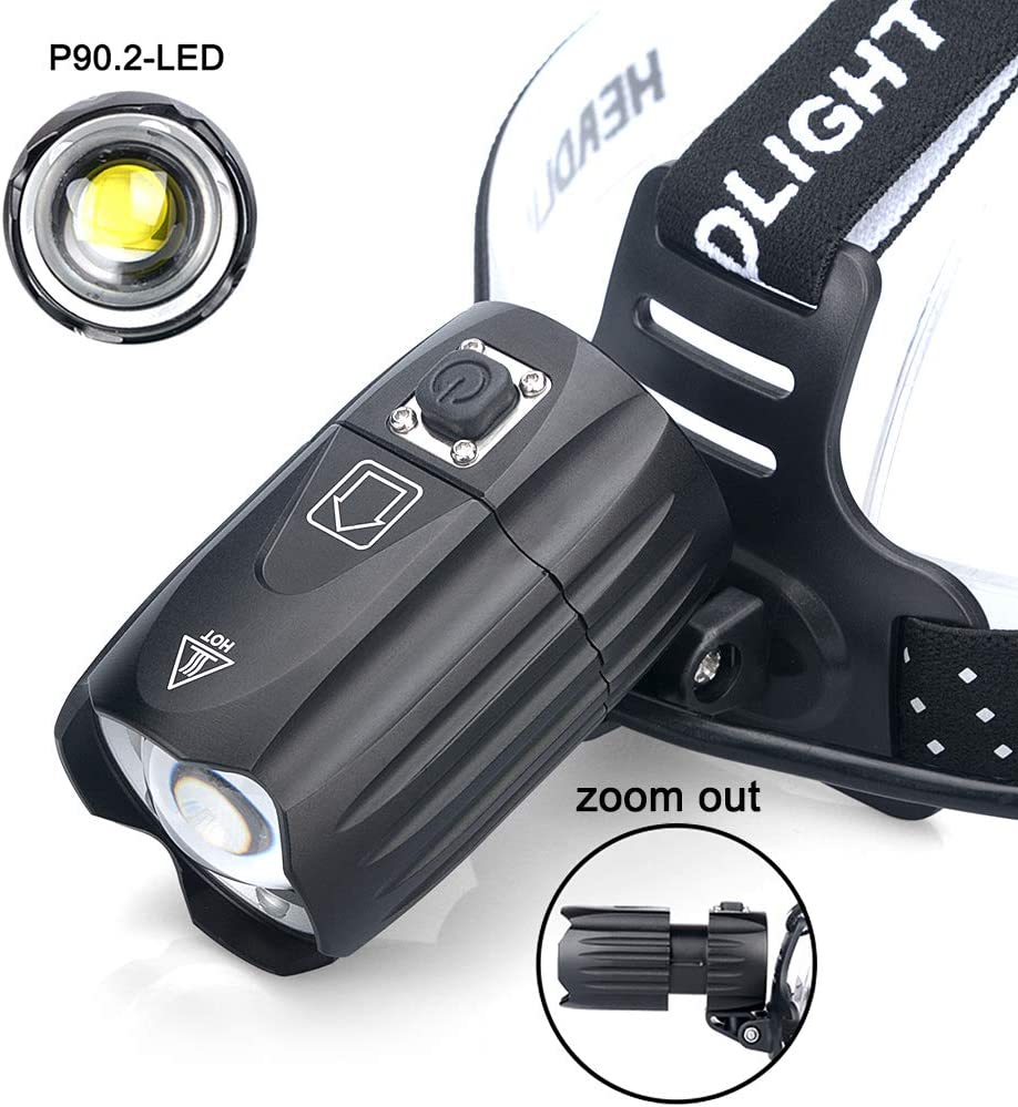 Linterna Frontal LED XHP90 Ultrabrillante Excursi/ón 90/° Ajustable y Zoomable Luz Frontal para Camping 3 Modos con Bater/ía 3*18650 IPX65 Impermeable Recargable 10000 Lumen Luz Frontal Potente