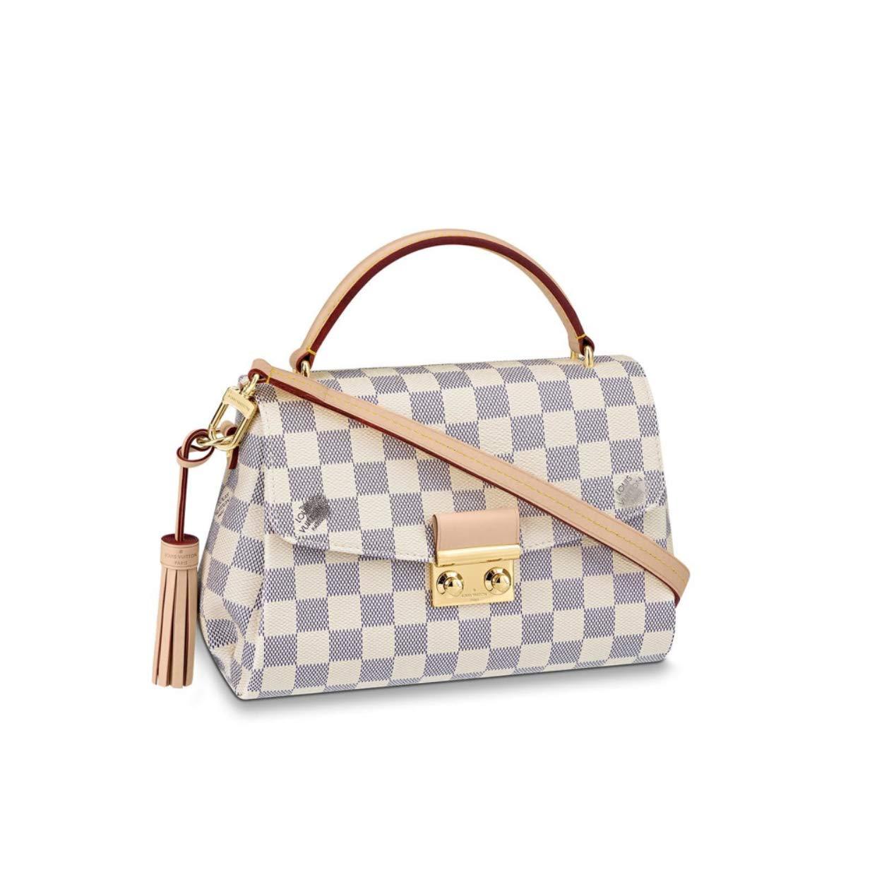 HPASS Classic CROISETTE Style Designer Woman Tassel Handbag Damier Tote Shoulder Bag(25x17x9.5cm)