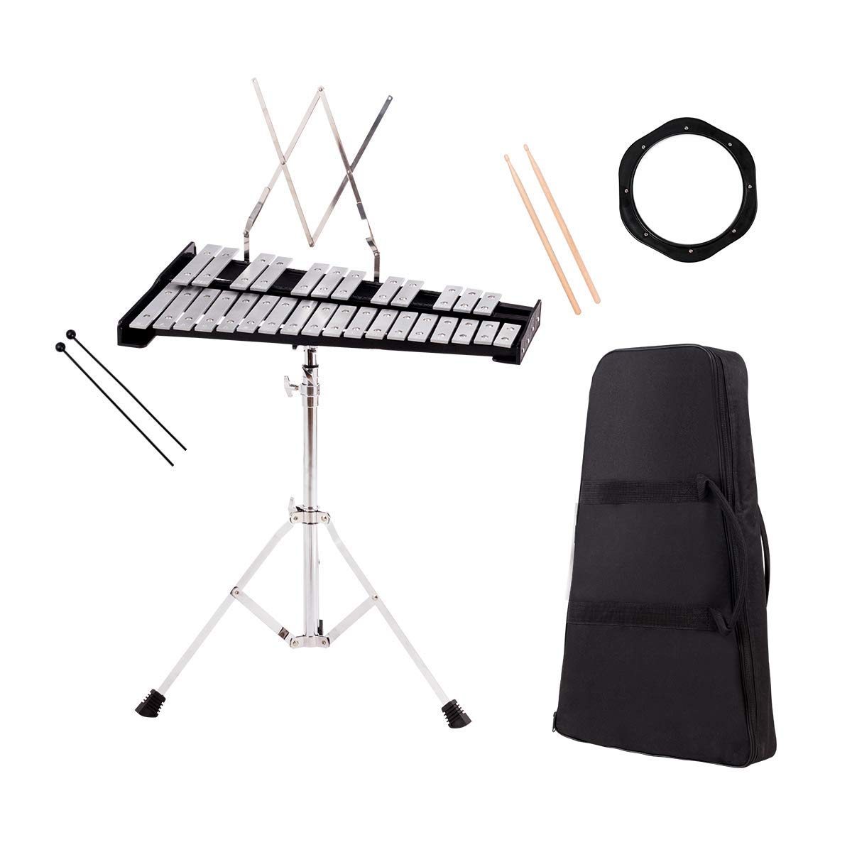 Giantex Percussion Glockenspiel Xylophone Bell Kit 30 Notes w/Practice Pad, Adjustable Height Stand, Bell Mallets, Wooden Sticks, Music Stand, Carrying Bag (22.5'' x 14.5'' x (23-38'')) by Giantex