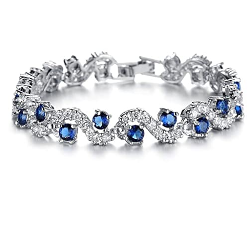 Feraco Platinum Plated Rhinestone Cubic Zirconia Bracelet For Women Crystal Bangle Wedding Jewelry