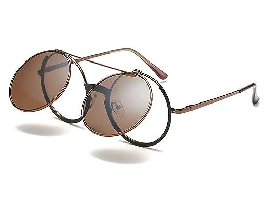 372f1d18d93 Bmeigo Small Round Sunglasses Mens Women Steampunk Retro Flip Up Lens Circle  Metal Frame Eyewear UV400