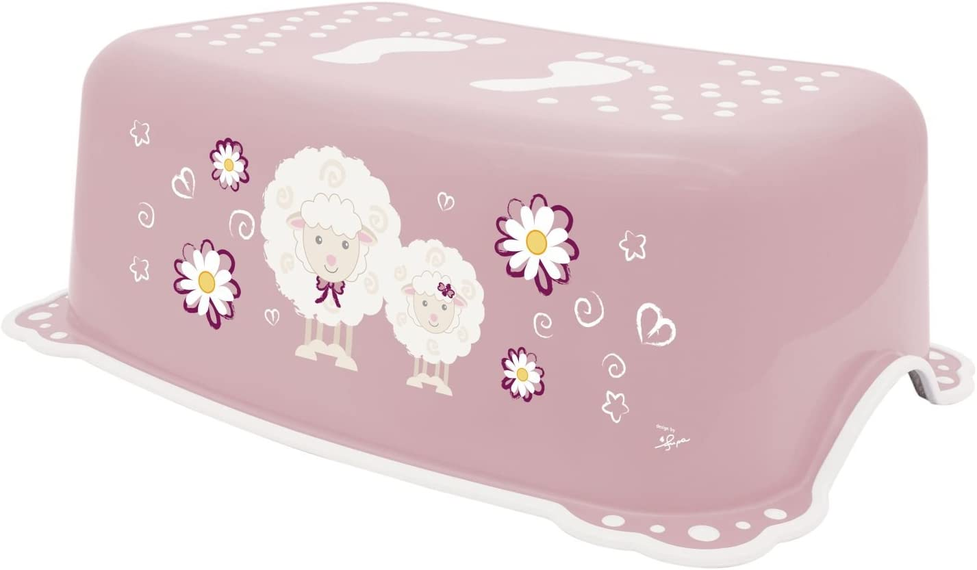 BIECO 11181703 from 12 Months to About 10 Years Pink Children Step Stool Trend Single-Stage Step Height 14 cm Sheep Motif and Anti-Slip Function