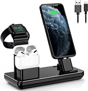 Charging Station for Apple Watch iPhone & Airpods,YoFeW Charger Stand for iWatch Series 5/4/3/2/1, AirPods and iPhone 11/11 Pro/11 Pro Max/Xs/X Max/XR/X/8/8Plus/7/7 Plus /6S /6S Plus, Upgraded