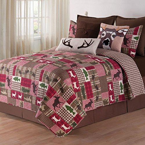 2pc Red Brown Green White Twin Quilt Set, Rustic Cabin Wildlife Plaid Patchwork Themed Bedding Animal Moose Deer Lodge Cottage Nature Forest Trees Crimson Beige, Cotton by MISC