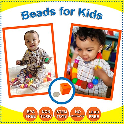 Skoolzy Lacing Beads For Kids Toddler Toy Jumbo Primary Lacing Toys