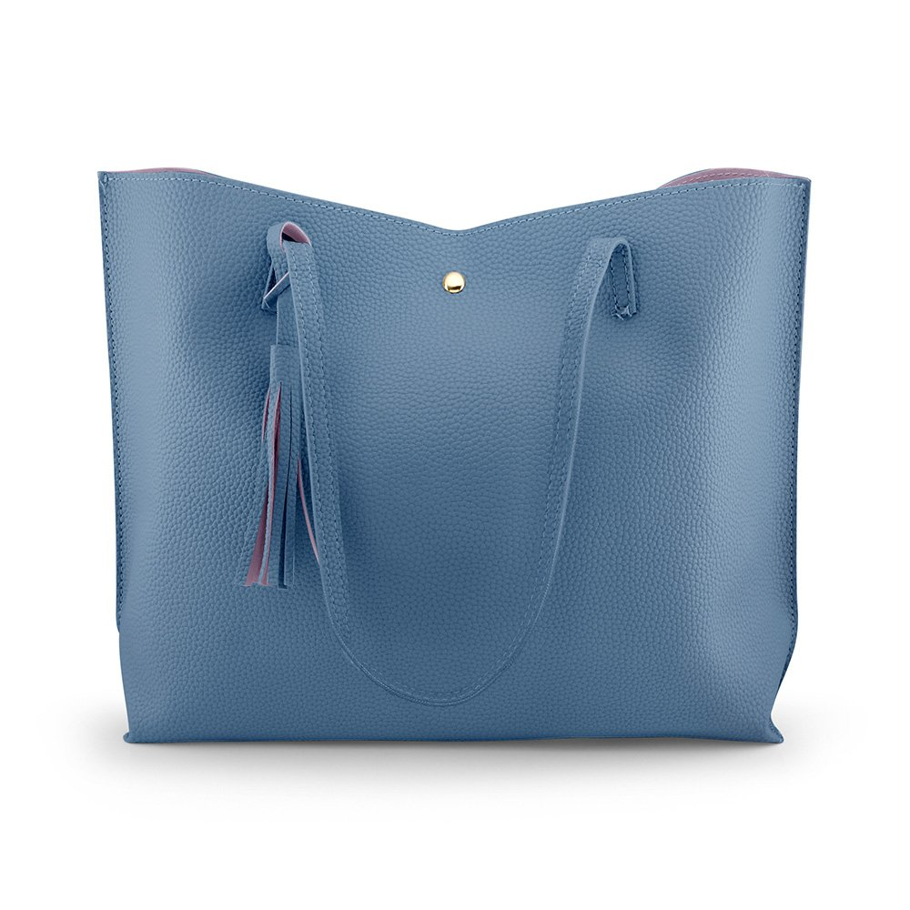 Oct17 Women Large Tote Bag - Tassels Faux Leather Shoulder Handbags, Fashion Ladies Purses Satchel Messenger Bags - Blue