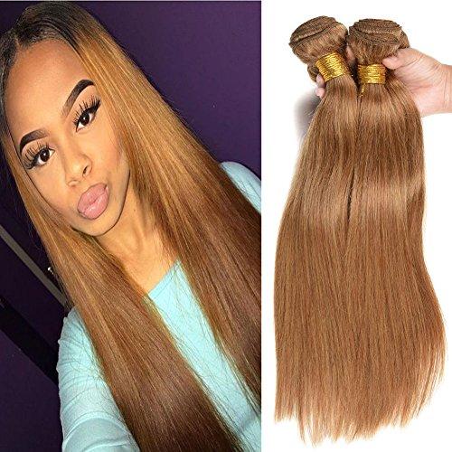 Black Rose Remy Straight Human Hair Pure Color #27 Honey Blonde Brazilian Straight Hair 4 Bundle Deals 7A Grade 100% Unprocessed Virgin Hair Weave Extensions 12 12 14 14inch 95-100g/piece 27 Colour