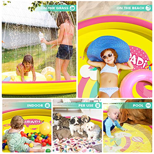 Inflatable Splash Pad Sprinkler for Kids Toddlers, Kiddie Baby Padding Pool, Outdoor Games Water Mat Toys - Baby Infant Wading Pool - Fun Backyard Fountain Play Mat for 1 -12 Year Old Girls Boys (68