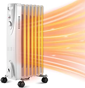 Kismile Oil Filled Electric Radiator Heater, Portable Oil-Filled Space Heater with Adjustable Thermostat Oil Heater with Overheat Protection, Safety Features for Home,Office,1500W (Grey)
