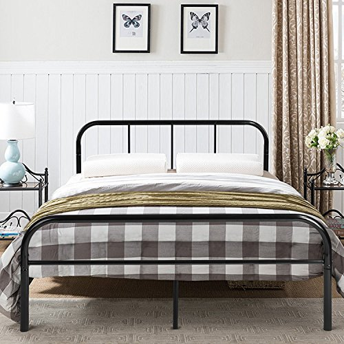 GreenForest Queen Size Bed Frame Metal Mattress Foundation No Box Spring Needed ()