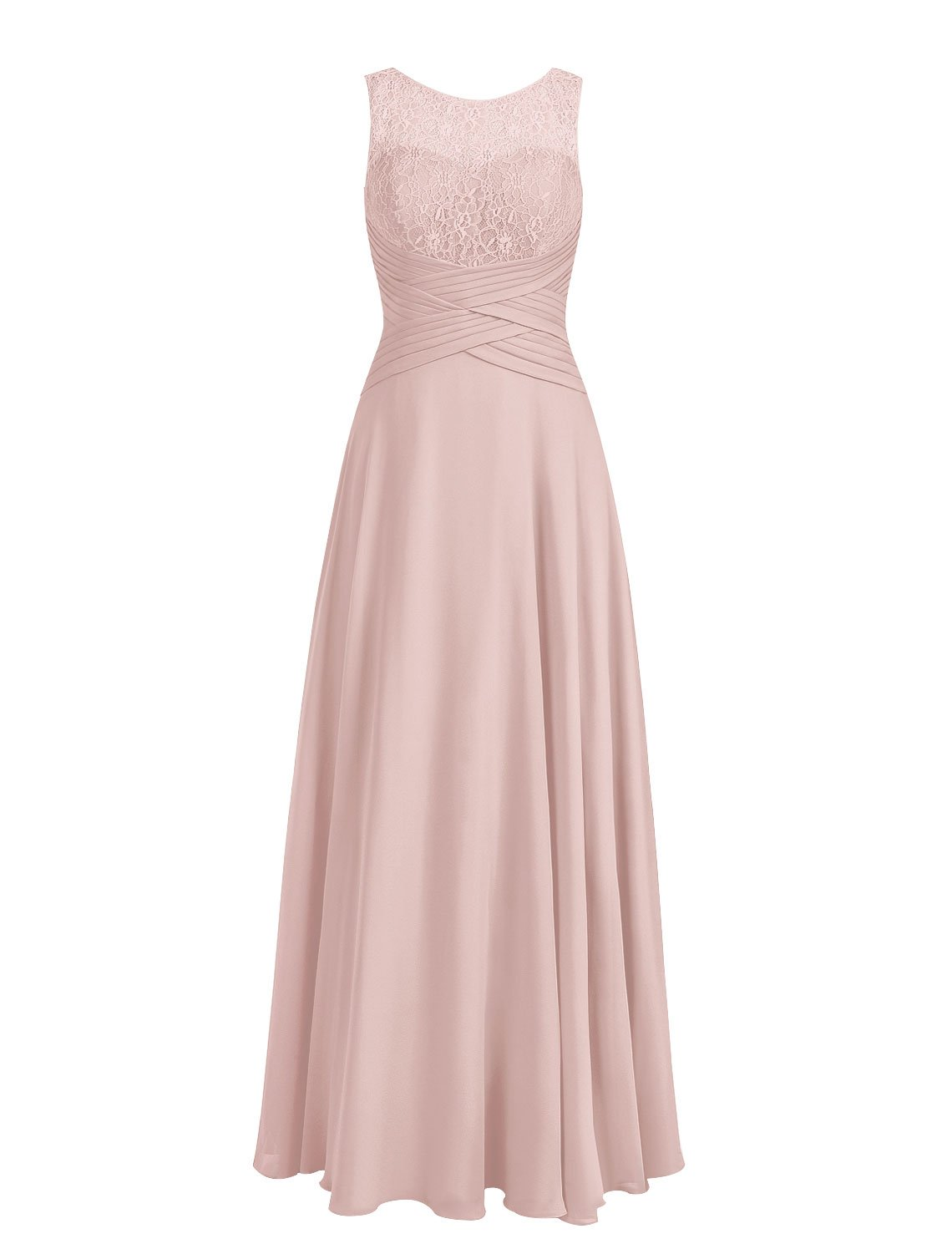 Cdress Bridesmaid Dresses Long Chiffon Prom Evening Dress Lace Wedding Party Gowns Dusty_Rose US 18W