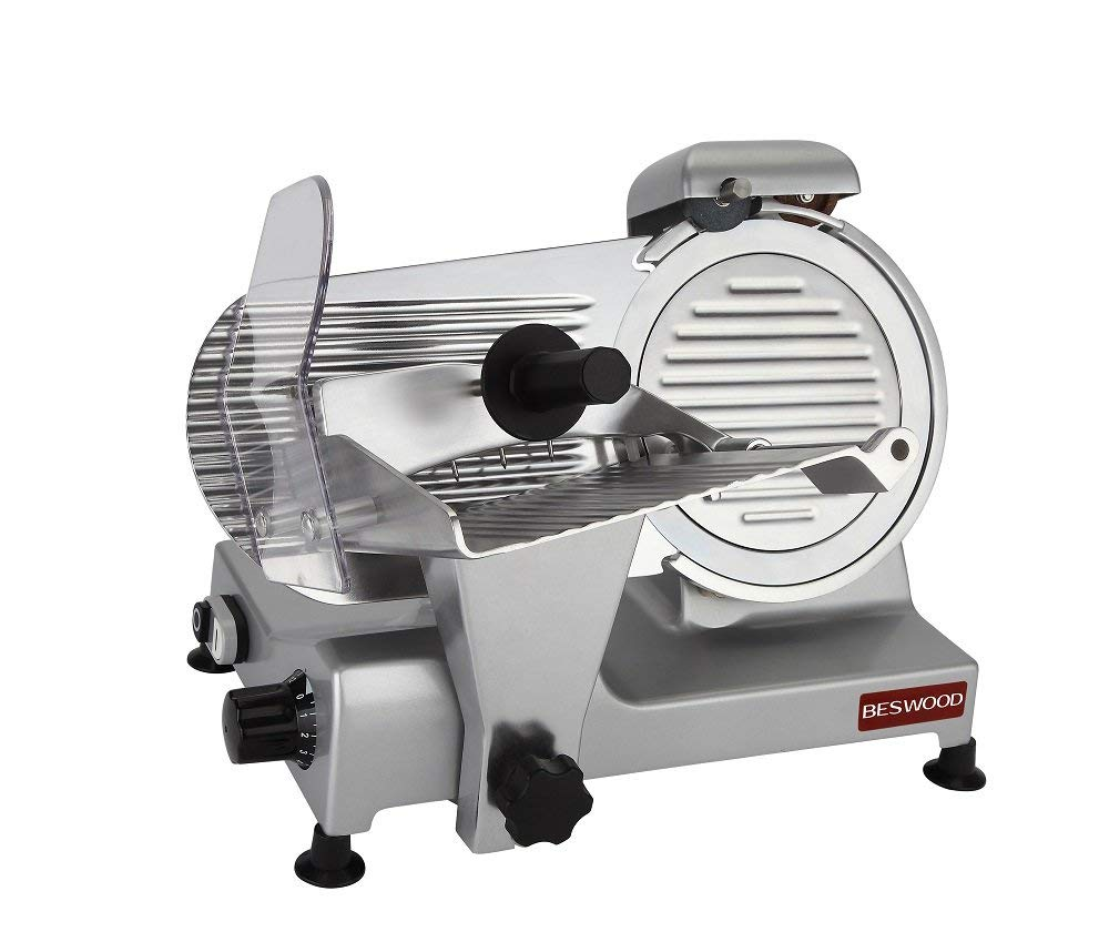 BESWOOD 9'' Premium Chromium-plated Carbon Steel Blade Electric Deli Meat Cheese Food Slicer Commercial and for Home Use 240W BESWOOD220 by BESWOOD