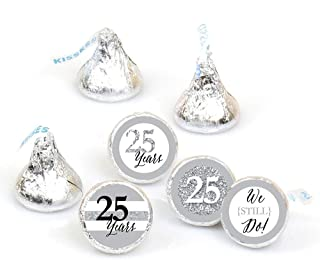product image for Big Dot of Happiness We Still Do - 25th Wedding Anniversary - Party Round Candy Sticker Favors – Labels Fit Hershey's Kisses (1 Sheet of 108)