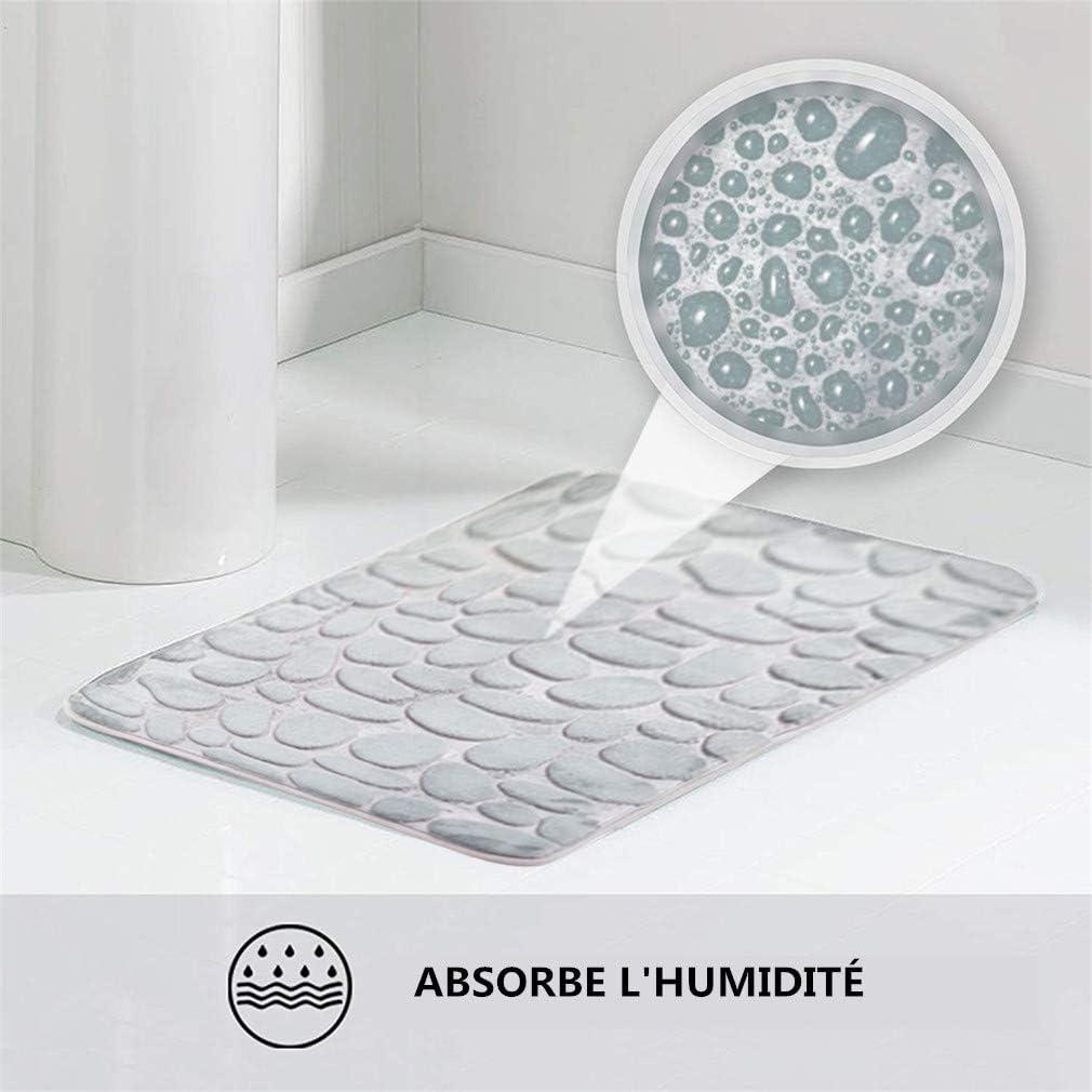 2 pi/èces 50 x 80 cm et 50 x 40 cm Warmiehomy Tapis de Bain Antid/érapant Absorbant Tapis de Douche Salle de Bain Tapis de Contour WC