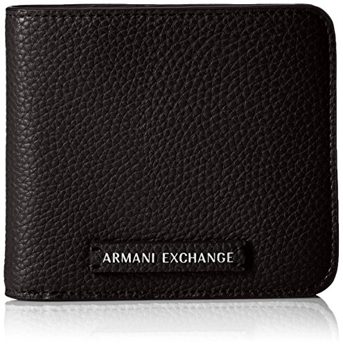 A|X Armani Exchange Pebble PU Medium Wallet, Black, One Size